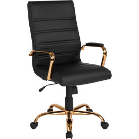 Flash Furniture Executive Swivel Chair with Tilt Lock - High Back - Leather - Black - Gold Frame