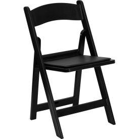 Resin Folding Chair with Vinyl Seat - Black - Pkg Qty 4