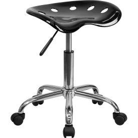Desk Stool - Backless - Plastic - Black
