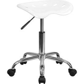 Desk Stool - Backless - Plastic - White