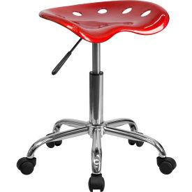 Desk Stool - Backless - Plastic - Red