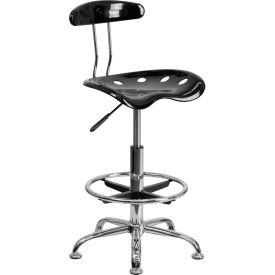 Desk Stool with Back - Plastic - Black