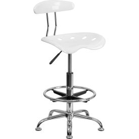 Vibrant White & Chrome Drafting Stool W/Tractor Seat
