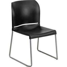 Contoured Plastic Stacking Chair - 880 lb. Capacity - Black - Hercules Series