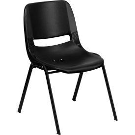 Ergonomic Shell Stack Chair  - Plastic - Black - Hercules Series - Pkg Qty 4