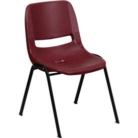 HERCULES Series Ergonomic Shell Stack Chair, Burgundy Plastic - Pkg Qty 4