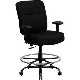 HERCULES Series Big & Tall Drafting Stool W/Arms & Extra WIDE Seat, Black Fabric