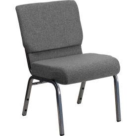 "Flash Furniture 21""W Stacking Church Chair - Fabric - Gray - Hercules Series"