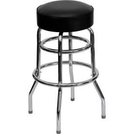 """Flash Furniture 30-1/4""""H Double Ring Barstool - Chrome with Vinyl Seat - Black"""