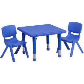 """Flash Furniture 24"""" Square Plastic Height-Adjustable Activity Table Set with 2 Chairs - Blue"""