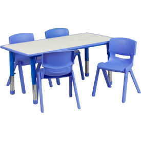 """Flash Furniture 47.25"""" Rectangle Plastic Height Adjustable Activity Table Set with 4 Chairs - Blue"""