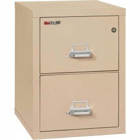 "Fireking Fireproof 2 Drawer Vertical File Cabinet - Letter Size 17-11/16""W x 25""D x 28""H - Putty"