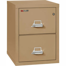 """Fireking Fireproof 2 Drawer Vertical File Cabinet - Letter Size 17-11/16""""W x 25""""D x 28""""H - Sand"""