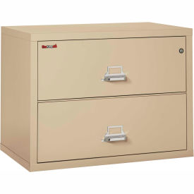 """Fireking Fireproof 2 Drawer Lateral File Cabinet - Letter-Legal Size 37-1/2""""W x 22""""D x 28""""H - Putty"""