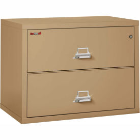 """Fireking Fireproof 2 Drawer Lateral File Cabinet - Letter-Legal Size 37-1/2""""W x 22""""D x 28""""H - Sand"""