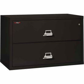 "Fireking Fireproof 2 Drawer Lateral File Cabinet - Letter-Legal Size 44-1/2""W x 22""D x 28""H - Black"
