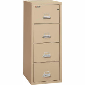"""Fireking Fireproof 4 Drawer Vertical File Cabinet - Letter Size 18""""W x 25""""D x 53""""H - Putty"""