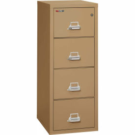 """Fireking Fireproof 4 Drawer Vertical File Cabinet - Letter Size 18""""W x 25""""D x 53""""H - Sand"""