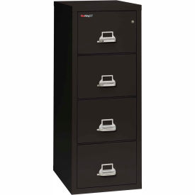 "Fireking Fireproof 4 Drawer Vertical File Cabinet - Legal Size 21""W x 25""D x 53""H - Black"