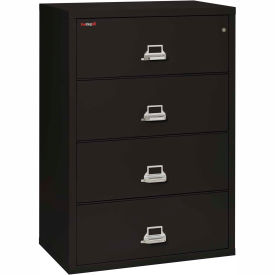 """Fireking Fireproof 4 Drawer Lateral File Cabinet - Letter-Legal Size 37-1/4""""W x 22""""D x 53""""H - Black"""