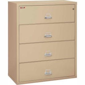 """Fireking Fireproof 4 Drawer Lateral File Cabinet - Letter-Legal Size 44-1/2""""W x 22""""D x 53""""H - Putty"""