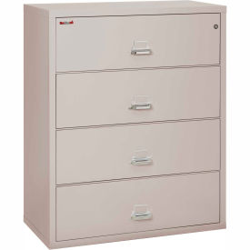 File Cabinets Fireproof Fireking 4 Drawer Lateral Cabinet Letter Legal Size 44 1 2w X 22d 53h Lt Gray 240132lg