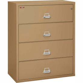 "Fireking Fireproof 4 Drawer Lateral File Cabinet - Letter-Legal Size 44-1/2""W x 22""D x 53""H - Sand"