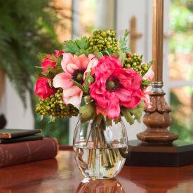 OfficeScapesDirect Berry & Anemone Silk Flower Arrangement - Beauty/Pink