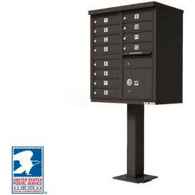 Vital Cluster Box Unit, 12 Mailboxes, 1 Parcel Locker, Dark Bronze
