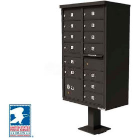 Vital Cluster Box Unit, 13 Mailboxes, 1 Parcel Locker, Dark Bronze