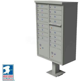 Vital Cluster Box Unit, 16 Mailboxes, 2 Parcel Lockers, Postal Grey