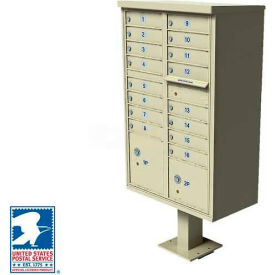 Vital Cluster Box Unit, 16 Mailboxes, 2 Parcel Lockers, Sandstone