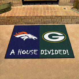 """Fan Mats NFL - Denver Broncos/Green Bay Packers House Divided Mat, 33-3/4"""" x 42-1/2"""" - 18572"""