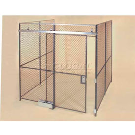 Wov-N-Wire™ Wire Mesh Pre-Designed, 3 Sided Room Kit, 10'W X 10'D X 10'H, W/Slide Door