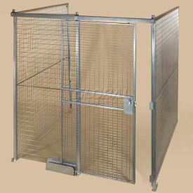 Qwik-Fence® Wire Mesh Pre-Designed, 3 Sided Room Kit, W/O Roof 8'W X 8'D X 8'H, W/Slide Door