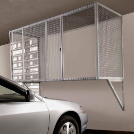 Folding Guard Garage Storage Locker WM834 Wall Mount w/Sliding Door 8'W x 3'D x 4'H, Medium Black