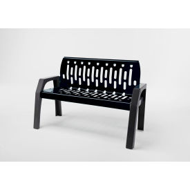Frost Stream 4' Steel Bench, Black with Gray Frame