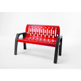 Frost Stream 4' Steel Bench, Red with Gray Frame