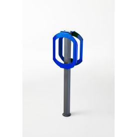 Bike Stop Double Ring Bike Rack, Gray/Blue