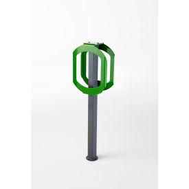 Bike Stop Double Ring Bike Rack, Gray/Green