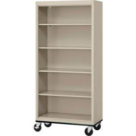 "Sandusky Steel Mobile Bookcase 36""W x 18""D x 78""H - Putty"