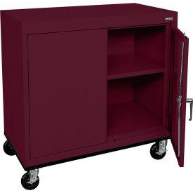 Sandusky Mobile Work Height Storage Cabinet TA11361830 Double Door - 36x18x30, Burgundy