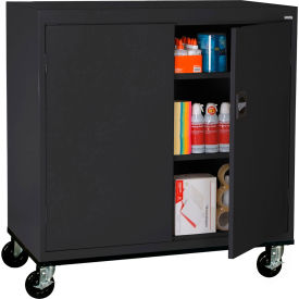 Cabinets Mobile Sandusky Work Height Storage Cabinet Ta2r462442 Double Door 46x24x48 Black 257895bk Global