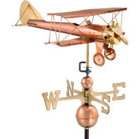 Good Directions Biplane Weathervane, Polished Copper