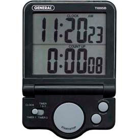 Digital Big Digit, Count-Up/Count-Down Timer With Clock (Black)