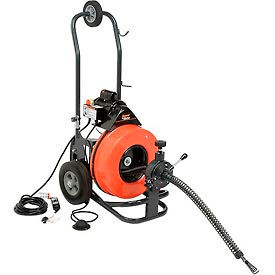"""General Wire P-ME-C-S The Metro Drain/Sewer Cleaning Machine W/ 100' x 9/16"""" Cable & 4 Pc Cutter Set"""