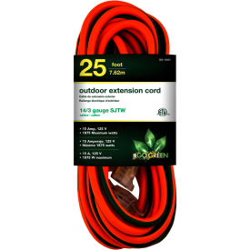 GoGreen Power, GG-13825, 25 Ft Extension Cord - Orange/Green