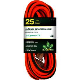 GoGreen Power, GG-13825, 25 Ft Extension Cord - Orange/Green