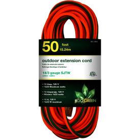 GoGreen Power, GG-13850, 50 Ft Extension Cord, 14/3, Orange/Green