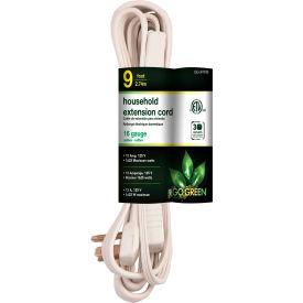 GoGreen Power, GG-24709, 9 Ft Household Extension Cord - White - Pkg Qty 10